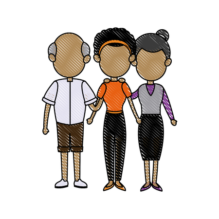 lovely grandparents with young man and woman. family and relationships vector illustration
