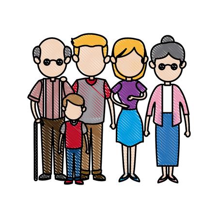 big family embraced together relationship image vector illustration