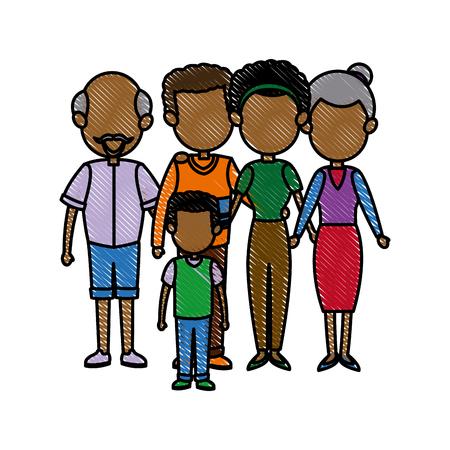 embraced: big family embraced together relationship image vector illustration