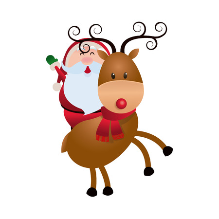 cute santa claus with reindeer christmas image vector illustration