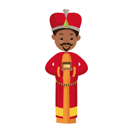 balthazar: cute cartoon wise king manger character vector illustration
