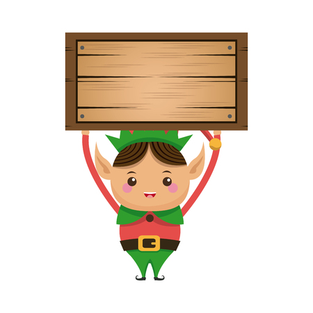 elves: happy merry christmas elf character vector illustration Illustration