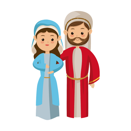 cute cartoon couple virgin mary and joseph vector illustration