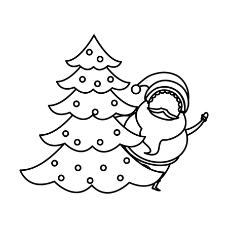 outlined santa claus with tree christmas celebration image vector illustration