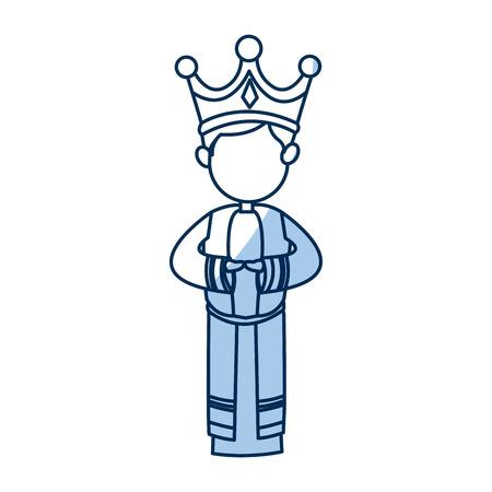 manger cartoon wise king christmas celebration, outline image vector illustration