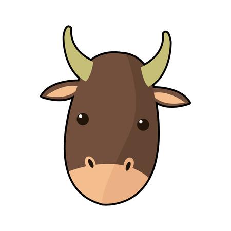 cartoon cute ox animal manger character vector illustration Illustration
