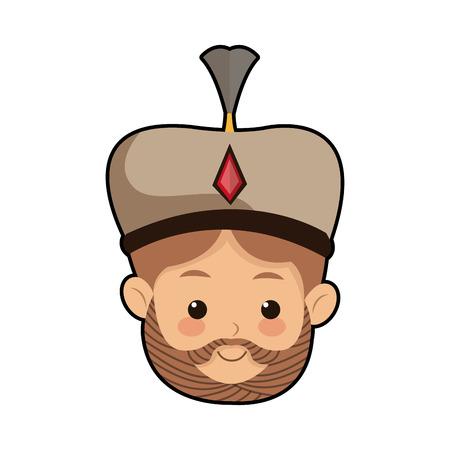 caspar: Cute cartoon wise king manger character vector illustration.