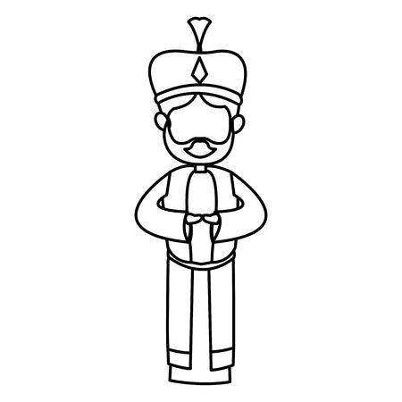 Krippe Karikatur kluge König Weihnachten Feier, Umriss Bild Vektor-Illustration Standard-Bild - 79097115