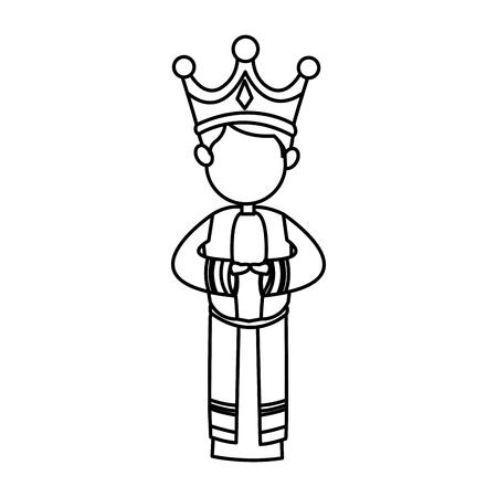 melchor: manger cartoon wise king christmas celebration, outline image vector illustration