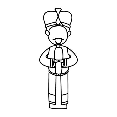 Krippe Karikatur kluge König Weihnachten Feier, Umriss Bild Vektor-Illustration Standard-Bild - 79097140