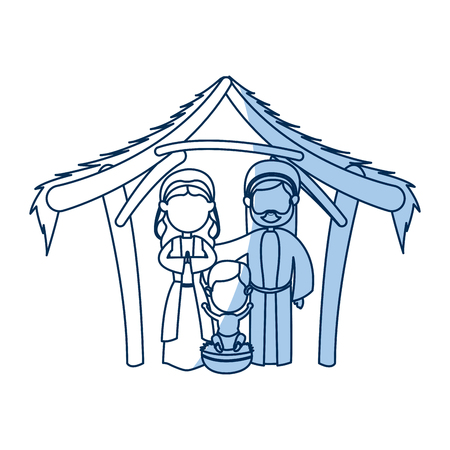 Dibujos Animados Virgen María Manger Navidad, Icono De Contorno ...