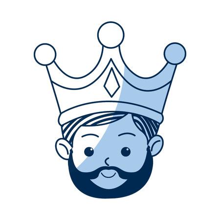caspar: manger cartoon wise king christmas celebration, outline image vector illustration