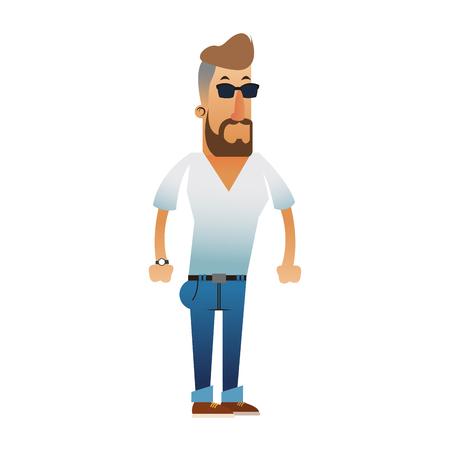 v neck: bearded man wearing tight v neck shirt  icon image vector illustration design Illustration