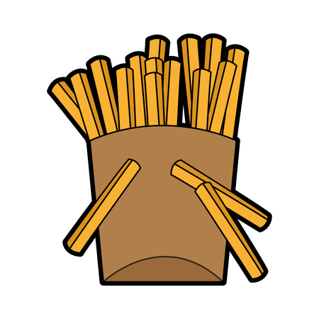 french fries fast food icon image vector illustration design