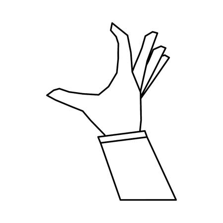 hand doing grabbing gesture icon image vector illustration design  single black line