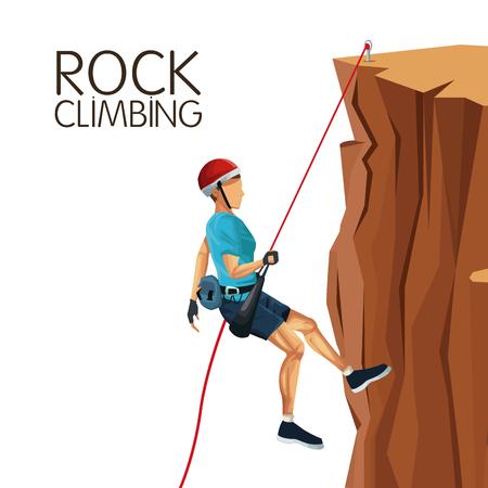 free range: scene man mountain descent with equipment rock climbing vector illustration Illustration