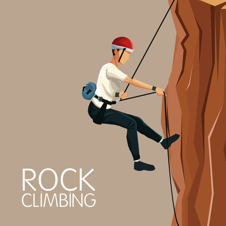 beige color background scene man mountain descent with harness rock climbing vector illustration Illustration
