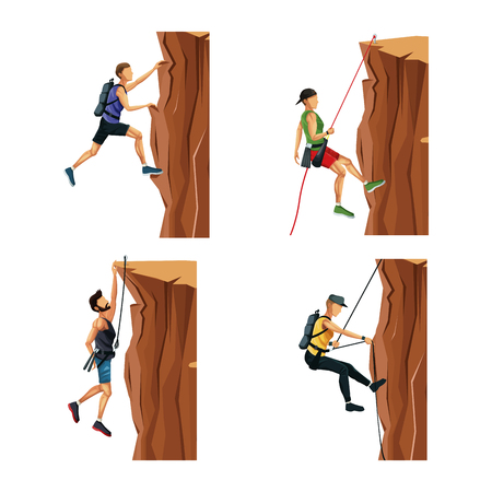 set scene men climbing on a rock mountain without equipment vector illustration
