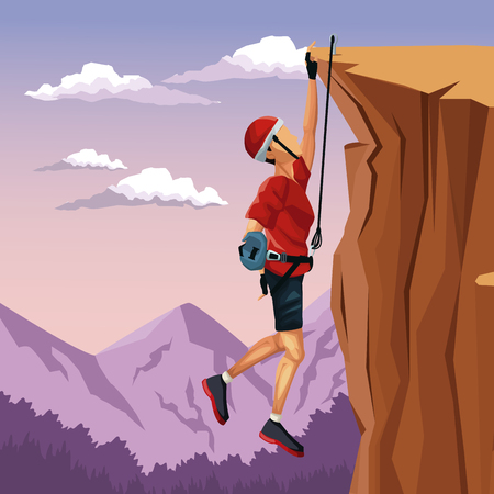 hang up: scene landscape man hanging on the cliff anchored to the top rock climbing vector illustration