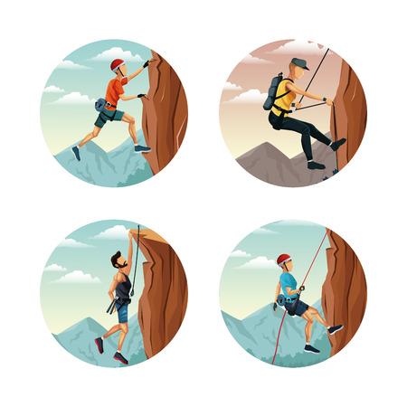 set cirkelvormige frame met scène landschap man rock climbing vector illustratie
