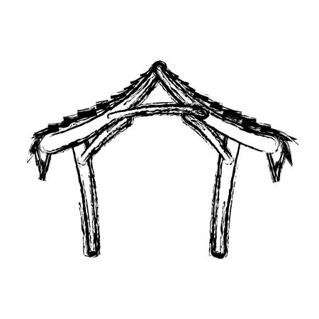 catholicism: hut manger icon. merry christmas design. vector illustration