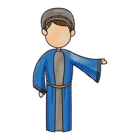 cartoon joseph man father christianity vector illustration Illustration