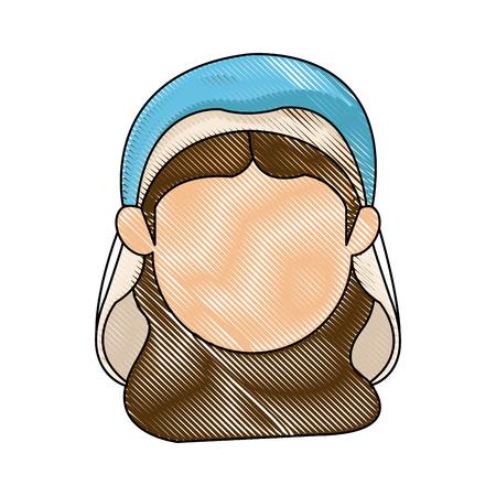 catholicism: virgin mary manger character design vector illustration