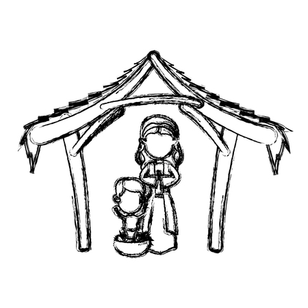 creche: manger virgin mary and baby jesus in hut image vector illustration