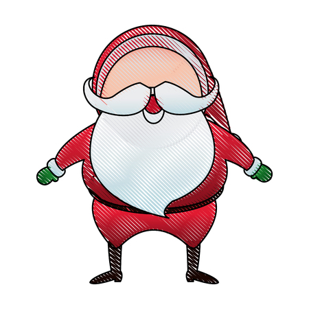 oldman: santa claus character head white beard and moustaches in traditional christmas merry vector illustration