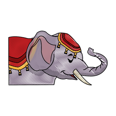 circus elephant as acrobat, animal standing trick, vector illustration