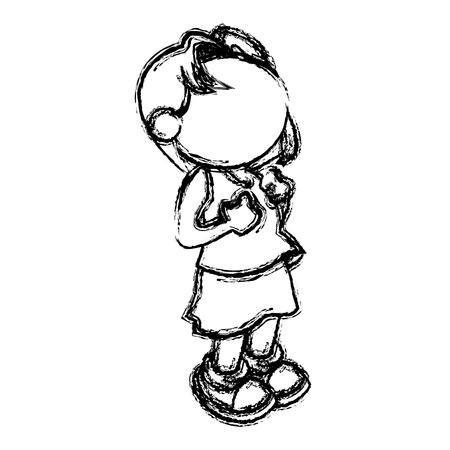 little girl child no face image vector illustration