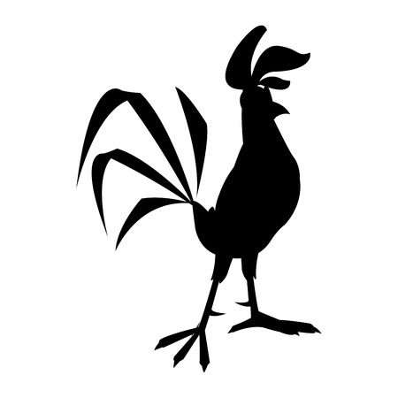 funny cartoon cock, comic rooster character, vector illustration