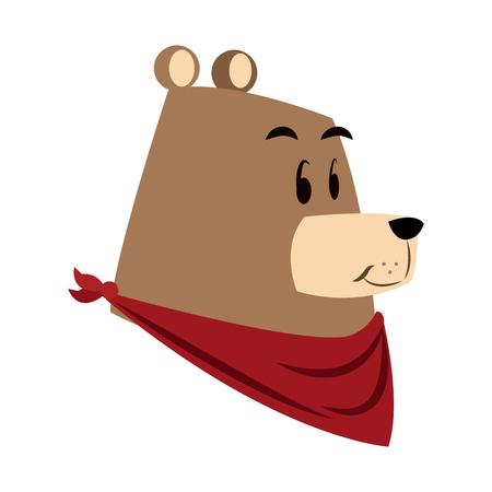 castor: Animales del bosque del oso de la historieta. Ilustración vectorial