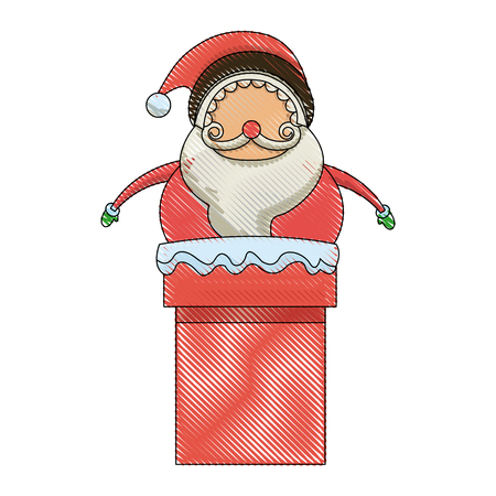 newyear: christmas santa claus character in chimney image vector illustration