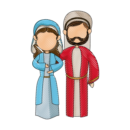 estrella de belen: cartoon virgin mary and joseph manger image vector illustration Vectores