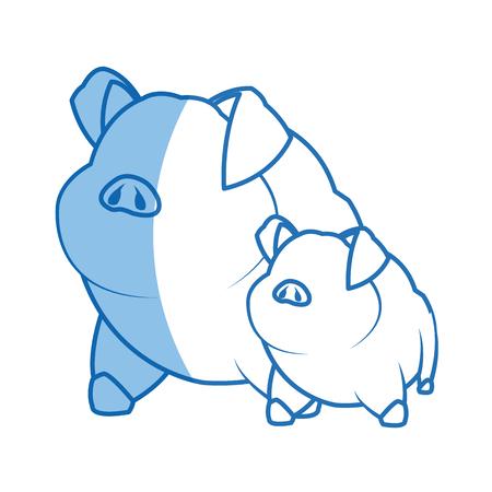 pig character, farm animal domestic image illustration vector