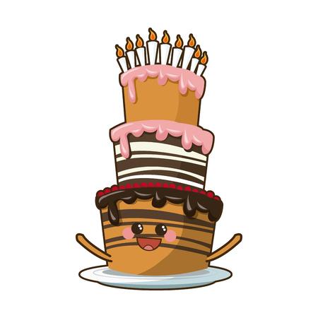 kawaii cake candle birthday party celebration vector illustration