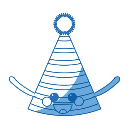 kawaii party hat decoration accessory icon vector illustration Illustration