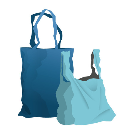 mart: disposable plastic bag package with handles, empty design vector illustration