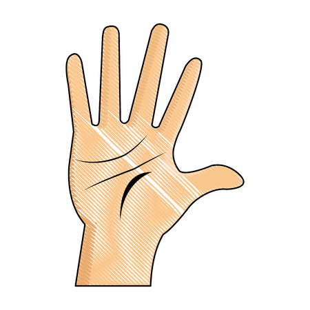 drawing hand man palm showing five finger vector illustration
