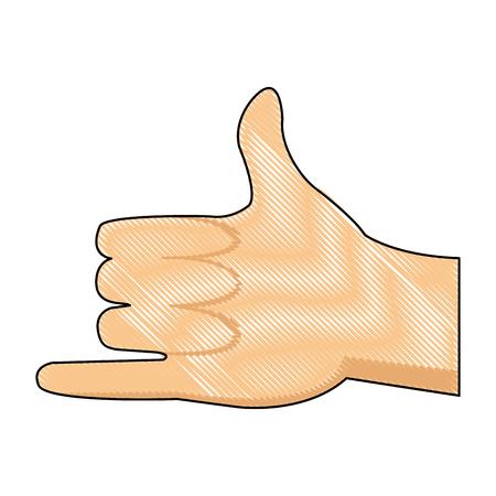 artoon: drawing hand man shaka surfing gesture icon vector illustration