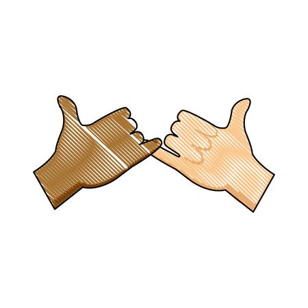 dedo meÑique: dibujo manos multirracial con compromiso rosado gesto icono ilustración vectorial Vectores