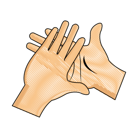 drawing hand man clap gesture icon vector illustration Illustration