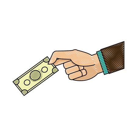 tekening hand man bedrijf met biljet geld afbeelding vector illustratie