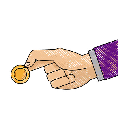 drawing hand man business with coin money icon vector illustration Illustration