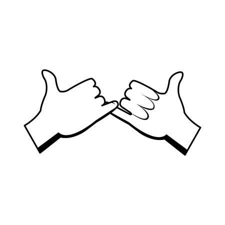 cartoon hands pinky promise gesture image vector illustration Ilustrace