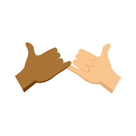 cartoon hands pinky promise gesture image vector illustration 일러스트