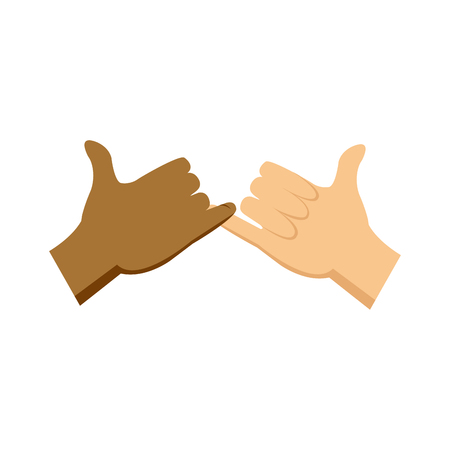 cartoon hands pinky promise gesture image vector illustration Vettoriali