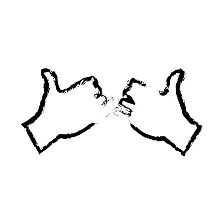 dedo meÑique: dibujo manos con la promesa de color rosa gesto icono ilustración vectorial