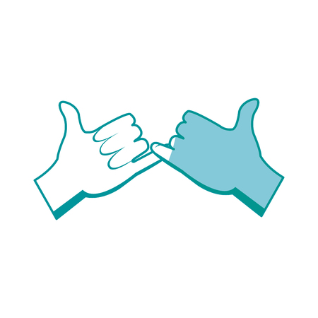 drawing hands with pinky promise gesture icon vector illustration